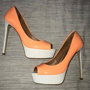 ALDO Peep Toe Orange/White Platform Heels